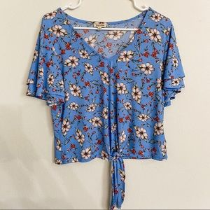 Lily White Crop Floral Blouse With Tie